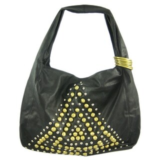 Brass Chrome Studded Shoulder Bag - Triangle - Black