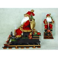 "22"" North Pole Express Santa Claus on Train Christmas Table Top Decoration - RED"