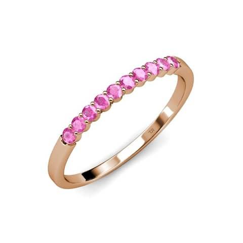 TriJewels Pink Sapphire 1/2 ctw 10 Stone Womens Wedding Band 14K Gold