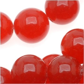 Cherry Red Candy Jade 8mm Round Beads (15 Inch Strand)
