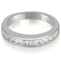 0.85 CT.TW Channel Set Princess Cut Diamond Wedding Band - White H-I