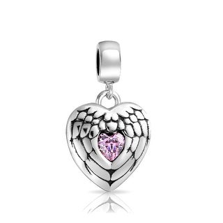 Bling Jewelry 925 Sterling Silver Angel Wing Heart Message Pink Dangle Bead Charm