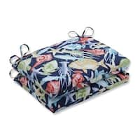 "Set of 2 Deep Blue Sea Outdoor Patio Chair Seat Cushions with Ties 18.5"" - Green"