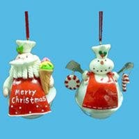Club Pack of 12 Santa Claus and Snowman Chef on Jingle Bell Christmas Ornaments - WHITE