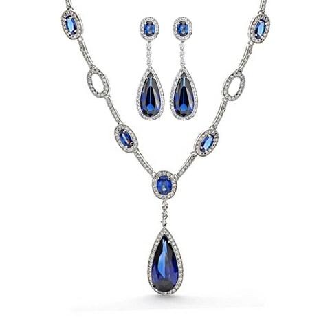 Bling Jewelry Blue CZ Teardrop Wedding Set Rhodium Plated