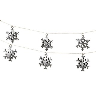Set of 2 Silver Dimensional Decorative Christmas Snowflake Garlands 60""