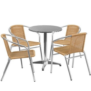 Skovde 5pcs Round 23.5'' Aluminum Table w/4 Beige Rattan Chairs
