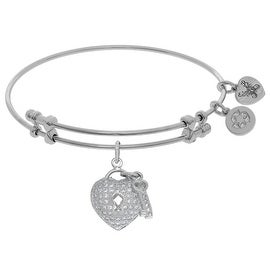 Angelica Collection Brass White Heart-key Charm White CZ On White Bangle