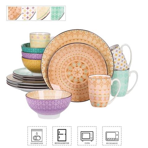 Dinnerware Set 16 Pieces Porcelain Dinner Set with Plate, Bowl and Mug
