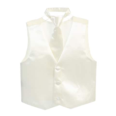 Little Boys Ivory Three Button Satin Vest Tie 2 Pc Set