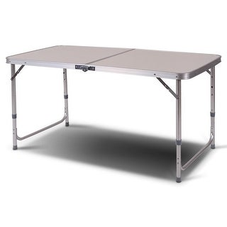 Costway 2'x4' Height Adjustable Folding Table Aluminum Frame Camping Picnic Portable