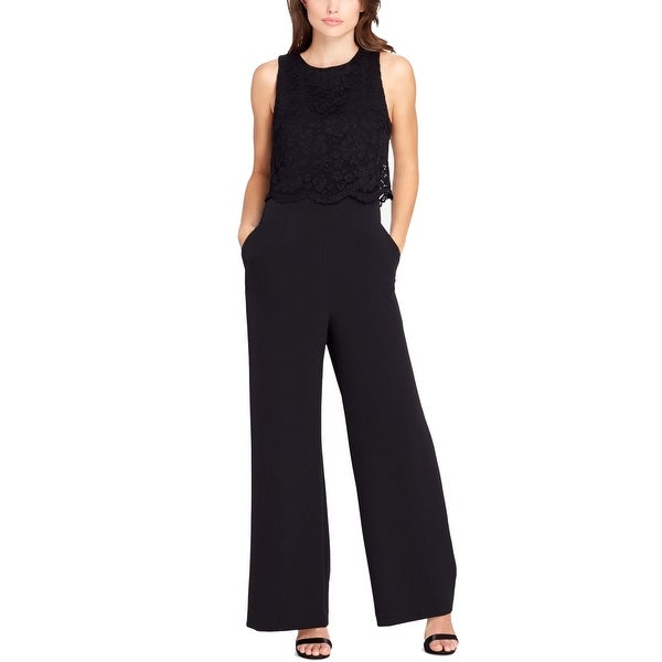 ead9175f8f59 Shop Tahari by ASL Women s Floral Lace Popover Jumpsuit - Free Shipping  Today - Overstock.com - 27287110