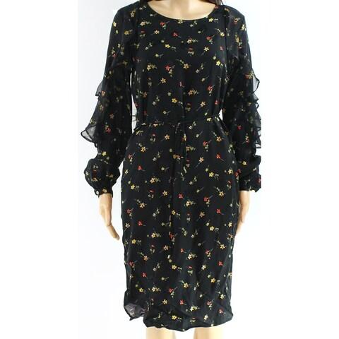 Lauren By Ralph Lauren Black Women's Size 6 Floral Sheath Dress