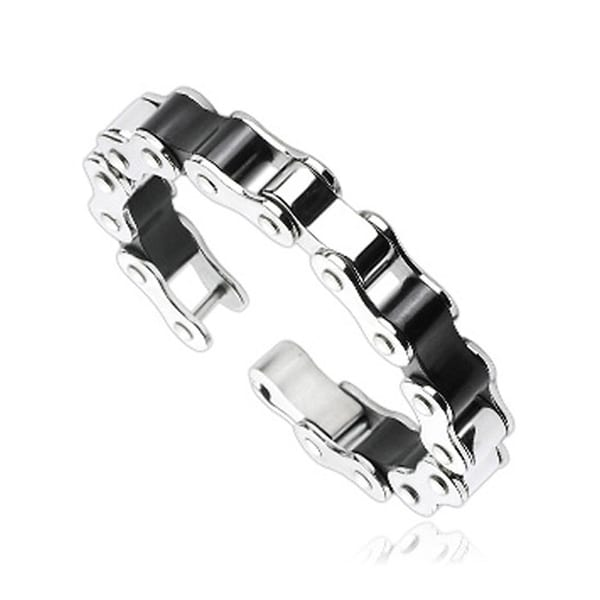 Stainless Steel Duo Tone Bicycle Link Bracelet (14 mm) - 8.75 in