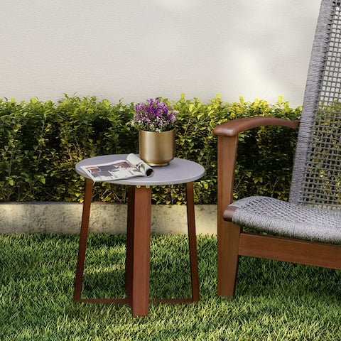 Peaktop - Patio Eucalyptus Solid Wood Side Table