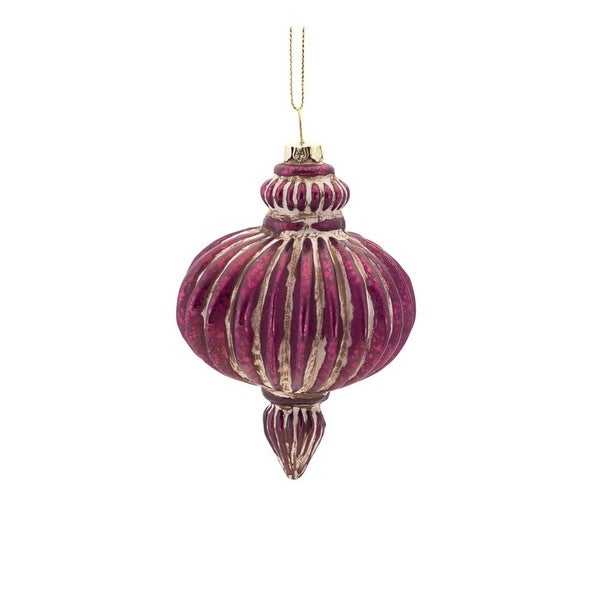 "4.5"" Rich Elegance Distressed Purple Antique-Style Ribbed Glass Onion Finial Christmas Ornament"