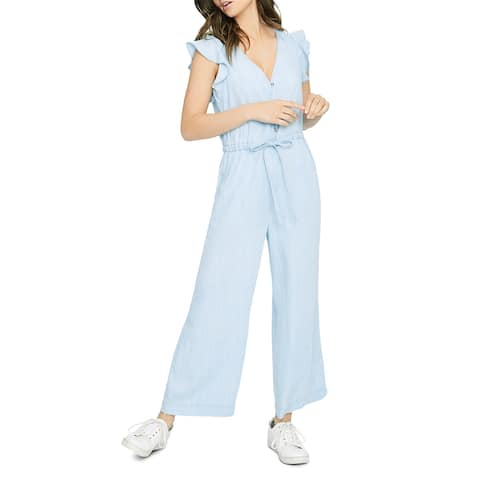 Sanctuary Womens Mica Jumpsuit Wide Leg Ruffle Sleeve - Catalina Wash