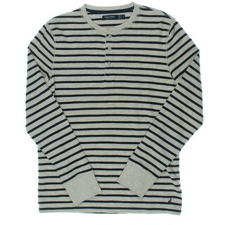 Nautica Mens Henley Sweater Knit Striped