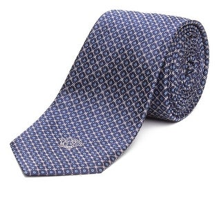 Versace Men's Slim Silk Medusa Patterned Tie Navy Blue - no size