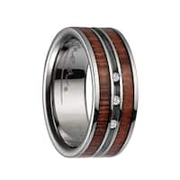 Titanium Wedding Ring With Koa Wood Inlay, Polished Edges, & 3 Diamond Center Setting - 8mm