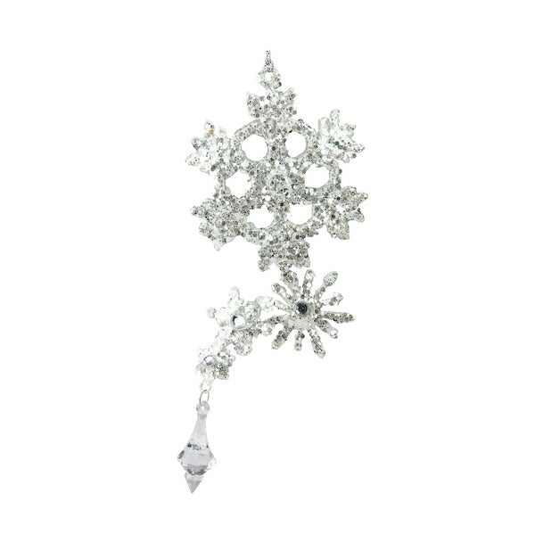 """8.5"""" Silver Glittered and Jeweled Snowflake Cluster Christmas Ornament - WHITE"""