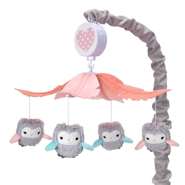 Lambs & Ivy Sweet Owl Dreams Gray/Pink Musical Baby Crib Mobile Soother Toy. Opens flyout.