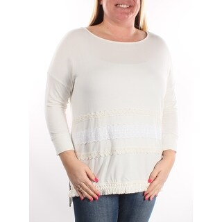 KENSIE Womens Ivory lace 3/4 Sleeve Scoop Neck Top  Size S