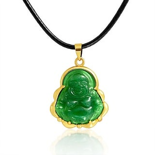 Synthetic Jade Laughing Buddha Pendant Polyester Rope Necklace 18 Inches - Green