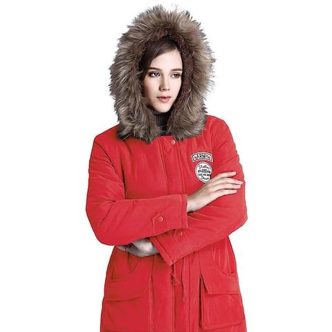 Escalier Women's Parkas Jacket Faux Fur Lined Warm Hooded Winter Coats Red - Small