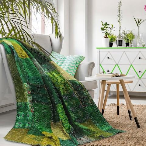 Porch & Den Tibbet Green Patchwork Pattern Throw Blanket
