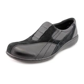 Clarks Bingo Q Women W Square Toe Leather Black Loafer