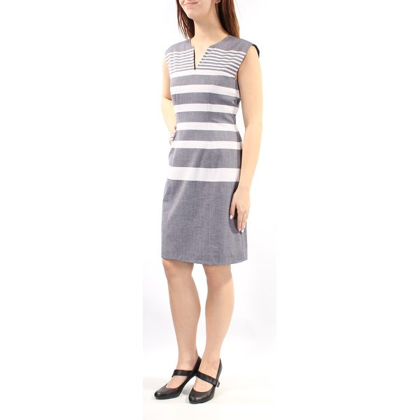 dd2f41b09eb79 Shop TOMMY HILFIGER Womens Blue Striped Sleeveless V Neck Above The Knee  Sheath Dress Size  8 - On Sale - Free Shipping On Orders Over  45 -  Overstock - ...