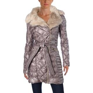 Via Spiga Womens Puffer Coat Metallic Down