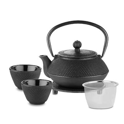 Velaze Cast Iron 24 oz. Teapot Set with 2 Cups and Trivet