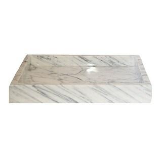 Eden Bath Rectangular Vessel Sink - White Carrara Marble