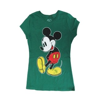Disney Womens Green Mickey Mouse Graphic Print Short Sleeve T-Shirt