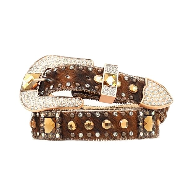 Nocona Western Belt Womens Leather Crystal Concho Bling Brown