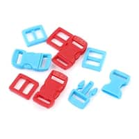 Unique Bargains 8 in 1 Red Blue 10mm Wdith Plastic Backpack Rucksack Quick Release Buckle Hooks