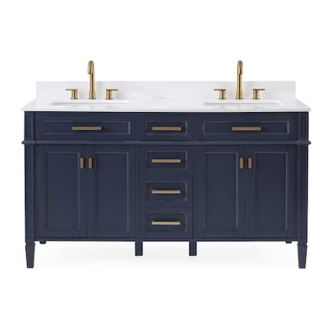 "60"" Tennant Brand Durand Modern Navy Blue Double Sink Bathroom Vanity"