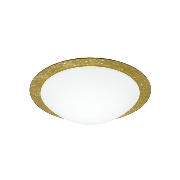 Besa Lighting 9772GFC Ring 1 Light Flush Mount Ceiling Fixture with White / Gold Ring Glass