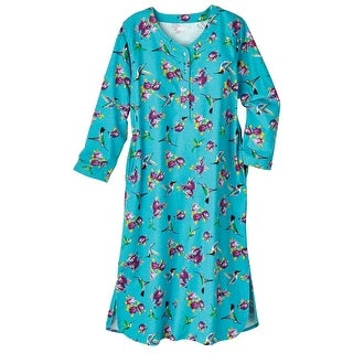 Women's Nightshirt - Hummingbirds & Roses Blue Flannel Nightgown