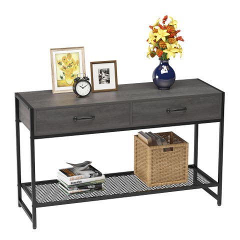 Elephance Sofa Console Table with 2 Drawers, 47 inch TV Stand for Living Room - Antique Oak