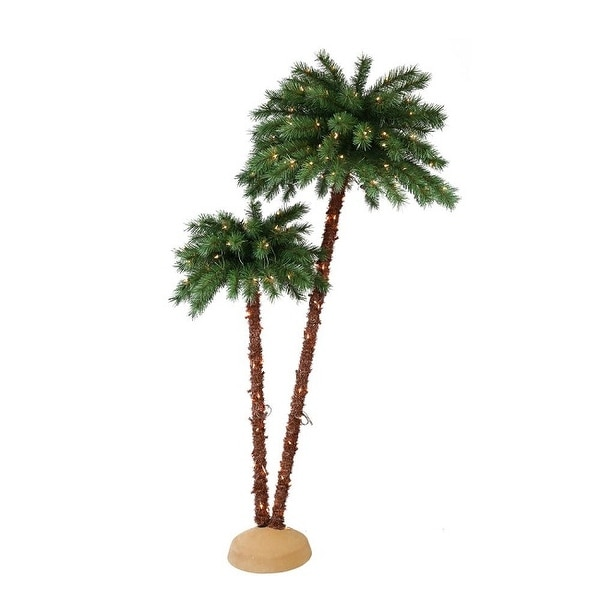 Pre-Lit Artificial Palm Tree with UL-Listed Lights 3.5'/6' - N/A