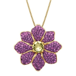 Crystaluxe Flower Pendant with Swarovski Crystals in 18K Gold-Plated Sterling Silver - Yellow