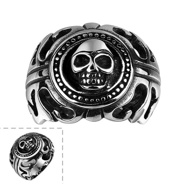 Vienna Jewelry Skull Emblem Abstract Stainless Steel Ring