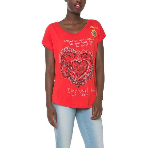 Desigual Women's Embroidered Ts Anmona T-Shirt, Red, Y