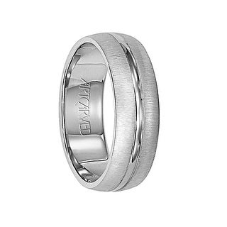 HUDSON Domed Palladium Wedding Band with Horizontal Brushed Finish and Polished Center Groove by ArtCarved - 6 mm