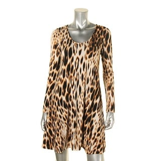 Karen Kane Womens Taylor Babydoll Dress Animal Print Long Sleeve - xs