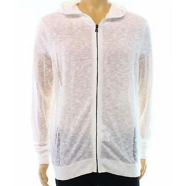 INC NEW White Mens Size Large L Full Zip Hooded Slub Knit Sweater