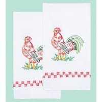 "Rooster - Stamped White Decorative Hand Towel Pair 17""X28"""